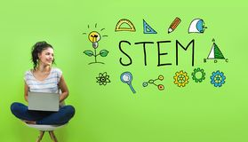 STEM with young woman. Using a laptop computer royalty free stock photography