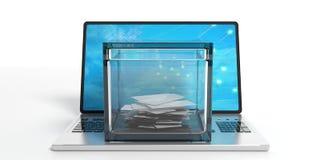 Stembus op laptop 3D Illustratie royalty-vrije illustratie