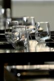 Stemless wine glasses. Sit on table at a wine lounge stock photo