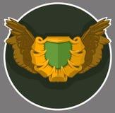 Stemma con le ali Cuscinetto o schermo araldico di simbol per una persona, una famiglia o una società royalty illustrazione gratis