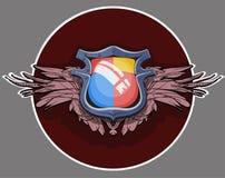 Stemma con le ali Cuscinetto o schermo araldico di simbol per una persona, una famiglia o una società illustrazione vettoriale