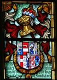 Stemma e casco medievale - vetro macchiato fotografia stock libera da diritti