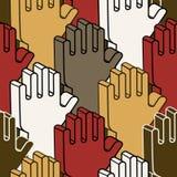 Stemmend over handen - naadloos patroon Stock Afbeeldingen
