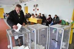 Stemming in de opiniepeilingspost in de Oekraïne stock foto