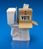 Stemmingsconcept met stembus over toiletkom Stock Foto