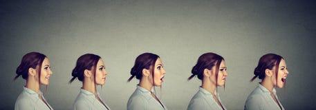 Stemmingsschommeling Jonge vrouw die verschillend emoties en gevoel uitdrukken royalty-vrije stock foto's