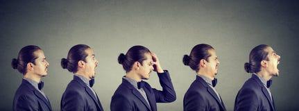 Stemmingsschommeling Mens die verschillend negatief emoties en gevoel uitdrukken royalty-vrije stock afbeelding