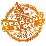 Stamp Deadline October 31st. Stamp Deadline October thirty first vector illustration