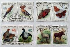 Stempel der Tschechischen Republik mit Tieren Lizenzfreies Stockbild