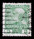 Stempel druckte in Österreich vom 60. Jahrestag der Herrschaft des Kaisers Franz Josef I Lizenzfreie Stockfotografie