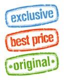 Stempel für exklusive Verkäufe Stockbild