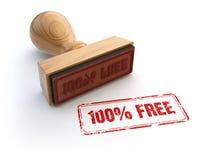 Stempel 100% frei auf Weiß Stockbilder