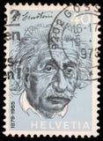 Stempel gedruckt in der Schweiz, die Albert Einstein zeigt Lizenzfreies Stockbild