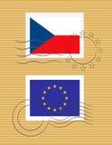 Stempel mit Markierungsfahne Tschechischer Republik Stockfoto