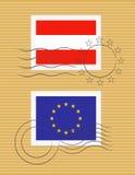 Stempel mit Markierungsfahne von Österreich Stockbilder