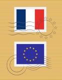 Stempel mit Markierungsfahne von Frankreich Stockfotografie