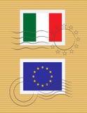 Stempel mit Markierungsfahne von Italien Stockfotografie