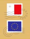 Stempel mit Markierungsfahne von Malta Stockfoto