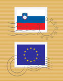 Stempel mit Markierungsfahne von Slowenien Stockfoto