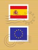 Stempel mit Markierungsfahne von Spanien Stockfotografie
