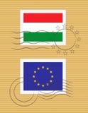 Stempel mit Markierungsfahne von Ungarn Lizenzfreie Stockfotos