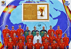 Stempel mit spanischem Fußball Weltcup-Meister Stockfotografie
