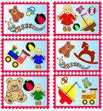Stempel mit Spielwaren Lizenzfreie Stockbilder