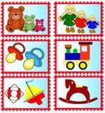 Stempel mit Spielwaren Stockfotos