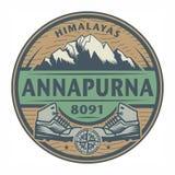 Stempel oder Emblem mit Text Annapurna, Himalaja lizenzfreie abbildung
