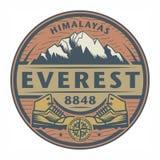 Stempel oder Emblem mit Text Everest, Himalaja lizenzfreie abbildung