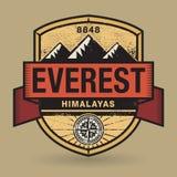 Stempel- oder Weinleseemblem mit Text Everest, Himalaja vektor abbildung