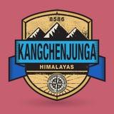 Stempel- oder Weinleseemblem mit Text Kangchenjunga, Himalaja lizenzfreie abbildung