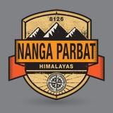 Stempel- oder Weinleseemblem mit Text Nanga Parbat, Himalaja vektor abbildung