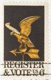 Stempel-Register der Weinlese-1968 zur Abstimmung Stockfotos