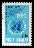 Stempel von Rumänien zeigt das Bild, das den 25. Jahrestag der Vereinten Nationen gedenkt Lizenzfreie Stockbilder