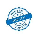 Stempelillustration der Spitze zehn Lizenzfreies Stockbild