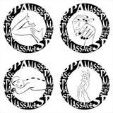Stempeln Sie Massage, Badekurort, Handsahne, Manikürezeichen Lizenzfreies Stockfoto