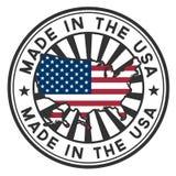 Stempeln Sie mit Karte, Markierungsfahne der USA. Gebildet in den USA. Lizenzfreie Stockfotos