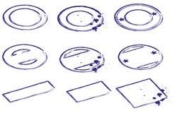 Stempelschablonen blau lizenzfreie abbildung