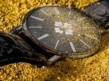 Stempeluhrfotometall, alte Uhr Stockfoto