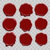 Stempelwachssiegel-Vektorikonen stellten von den roten alten realistischen Stempelaufklebern des Dichtungswachses ein stock abbildung