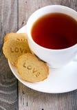 Stemplowi ciastka z słowem miłość Obraz Royalty Free
