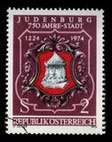 Stempluje drukowanego Austria, przedstawień Judenburg foka obraz royalty free