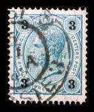 Stempluje drukowanego Austria, przedstawienie cesarz Franz Joseph Obrazy Stock
