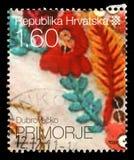 Stempluje drukowanego Chorwacja dedykował DubrovaÄ  ko Primorje, serie Chorwacki Etnograficzny dziedzictwo Obraz Stock