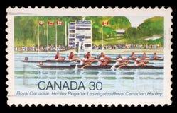 Stempluje drukowanego Kanada, przedstawienie kanadyjczyka Henley Królewski Regatta obraz royalty free