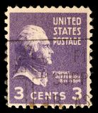 Stempluje drukowanego w usa, portreta 3th prezydent stanów zjednoczonych, Thomas Jefferson obrazy royalty free