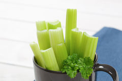 Stems of green celery Stock Photos