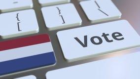 STEMtekst en vlag van Nederland op de knopen op het computertoetsenbord De verkiezing bracht conceptuele 3D animatie met elkaar i stock footage