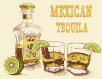 Stemware deux de tequila avec la bouteille Photos libres de droits